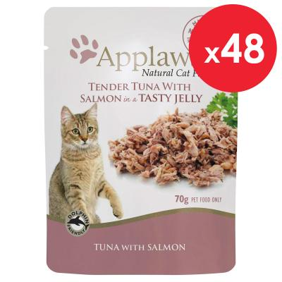 Applaws Tuna With Salmon In Jelly Adult Pouches Wet Cat Food 70g x 48