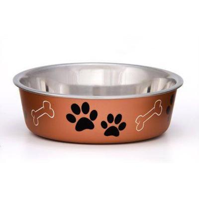 Loving Pets Bella Bowl Non Skid Stainless Steel Copper XLarge For Dogs 2L