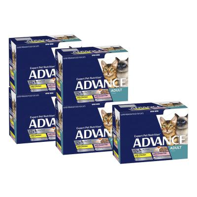 Advance Multipack Fish Chicken Turkey Chunks In Jelly Adult 1+ Years Pouches Wet Cat Food 85gm x 60