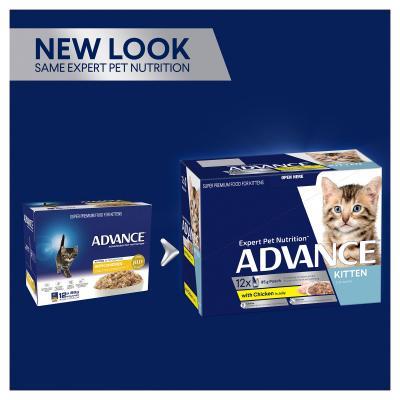 Advance Chicken In Jelly Kitten 2-12 Months Pouches Wet Cat Food 85gm x 60