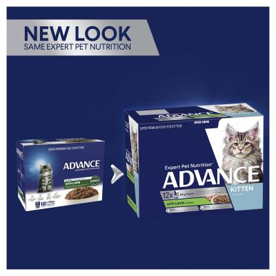 Advance Lamb With Gravy Kitten 2-12 Months Pouches Wet Cat Food 85gm x 60