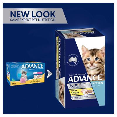 Advance Tender Chicken Kitten 2-12 Months Tray Canned Wet Cat Food 85gm x 42