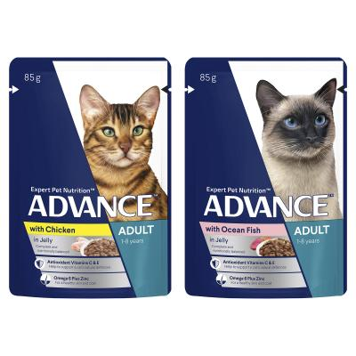 Advance Multipack Fish Chicken Chunks In Jelly Adult 1+ Years Pouches Wet Cat Food 85gm x 60