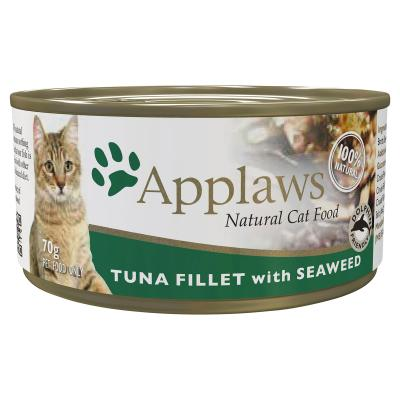 Applaws Tuna Fillet With Seaweed Natural Adult Canned Wet Cat Food 70g x 24