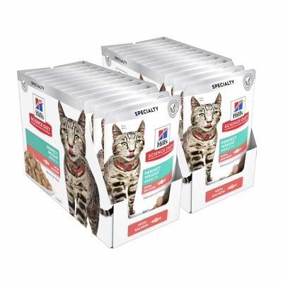 Hills Science Diet Adult Perfect Weight Salmon Pouches Wet Cat Food 85gm x 24