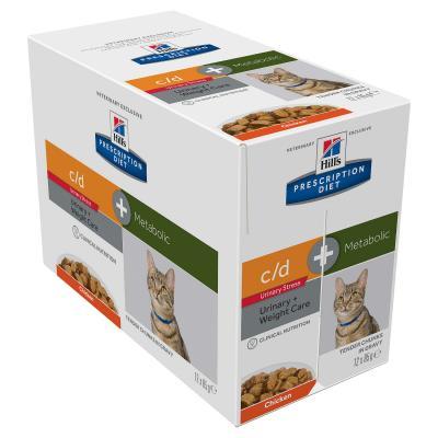 Hills Prescription Diet Feline Metabolic + Urinary Stress Chicken Pouches Wet Cat Food 85gm x 12