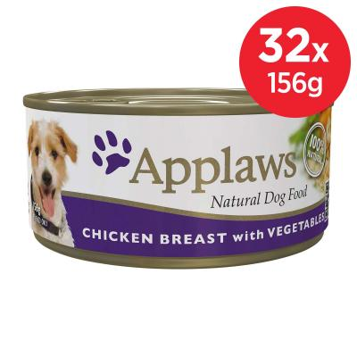 Applaws Chicken Breast With Vegetables Natural Canned Adult Wet Dog Food 156gm x 32