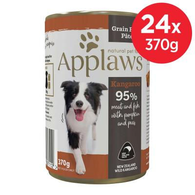 Applaws Kangaroo And Fish With Pumpkin And Peas Grain Free Pate Natural Adult Canned Wet Dog Food 370gm x 24