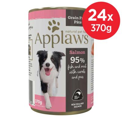 Applaws Salmon With Carrots And Peas Grain Free Pate Natural Adult Canned Wet Dog Food 370gm x 24