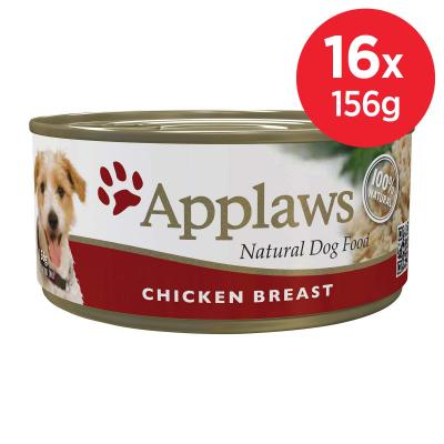 Applaws Chicken Breast Natural Canned Adult Wet Dog Food 156gm x 16