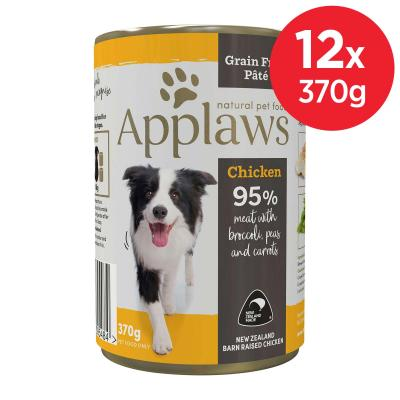 Applaws Chicken With Broccoli Peas Carrot Grain Free Pate Natural Adult Canned Wet Dog Food 370gm x 12