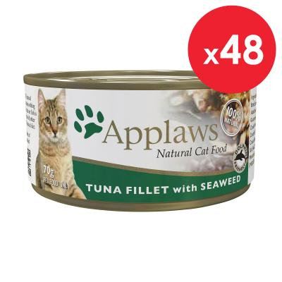 Applaws Tuna Fillet With Seaweed Natural Adult Canned Wet Cat Food 70g x 48